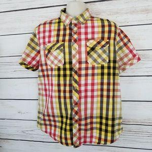 Akoo Plaid Double Pocket Button Up Shirt EUC